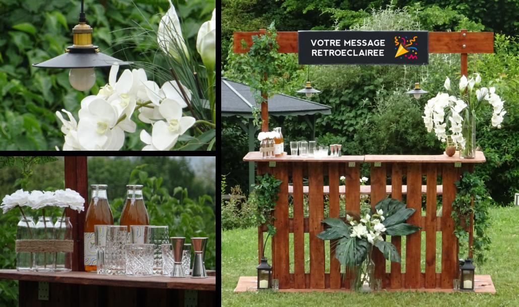 Bar Fin Pallet en bois, fleuri pour événements à Lyon et Genève