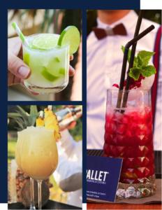 bar a cocktail exotique, mojito pina colada caïpirinha
